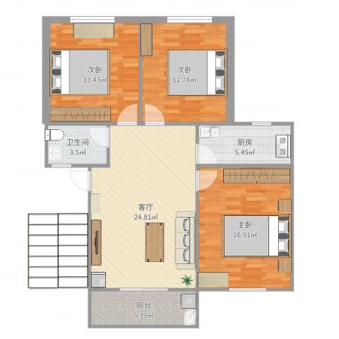 吕岭花园3室1厅1卫1厨103.00㎡户型图
