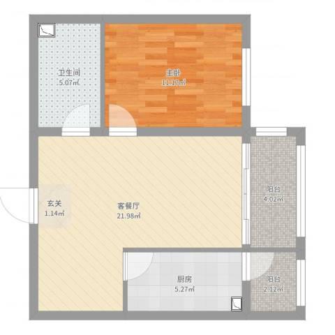松浦观江国际1室2厅1卫1厨62.00㎡户型图
