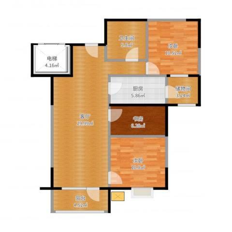 万科蓝山3室1厅2卫1厨101.00㎡户型图
