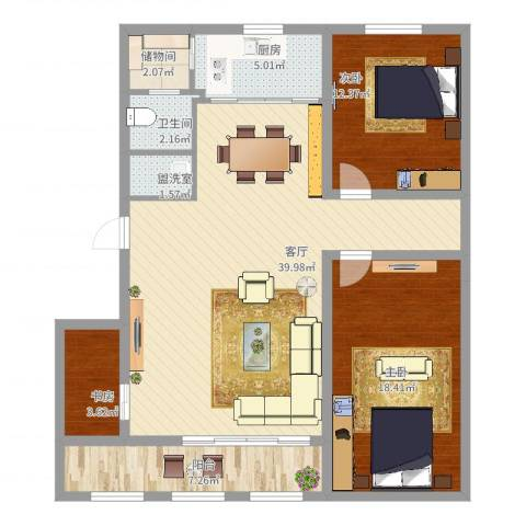 米东新城3室3厅1卫1厨131.00㎡户型图