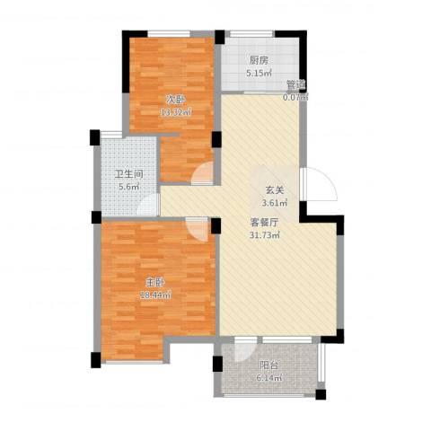 月秀花园2室2厅1卫1厨101.00㎡户型图