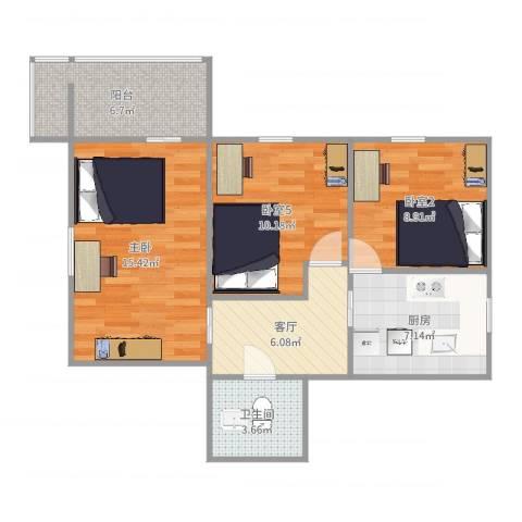 红庙北里14号楼3191室1厅1卫1厨73.00㎡户型图