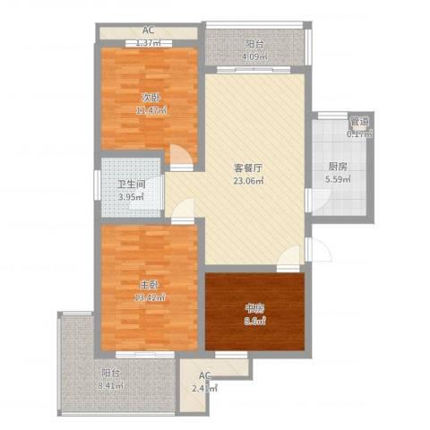 七彩星城国学府3室2厅1卫1厨103.00㎡户型图