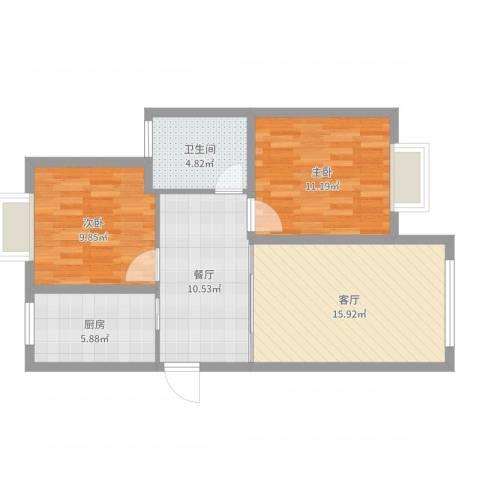 金港湾2室2厅1卫1厨73.00㎡户型图
