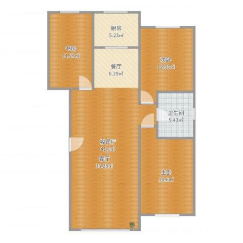 金港翠园3室2厅1卫1厨112.00㎡户型图