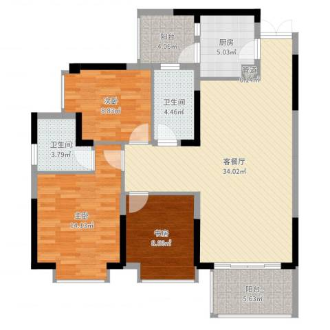 华美美立方3室2厅2卫1厨111.00㎡户型图