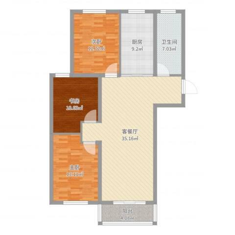 万泰香河佳园3室2厅1卫1厨115.00㎡户型图