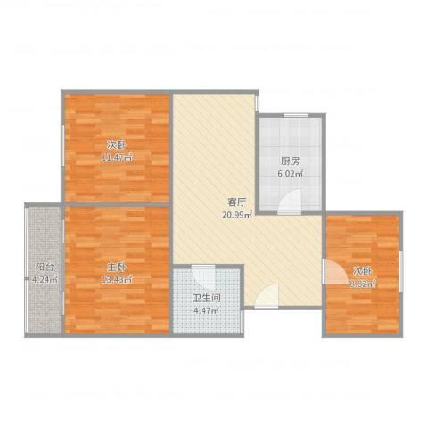 富康新村3室1厅1卫1厨87.00㎡户型图