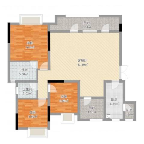 融创凡尔赛3室2厅2卫1厨129.00㎡户型图