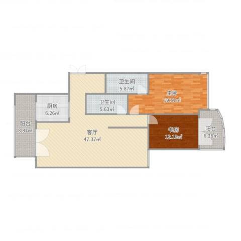 江南翡翠2室1厅2卫1厨140.00㎡户型图