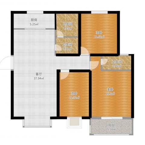 青青花园3室1厅3卫1厨124.00㎡户型图