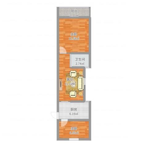 虹梅南路126弄小区2室1厅1卫1厨53.00㎡户型图