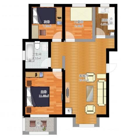 三丰中心思想3室2厅1卫1厨80.00㎡户型图