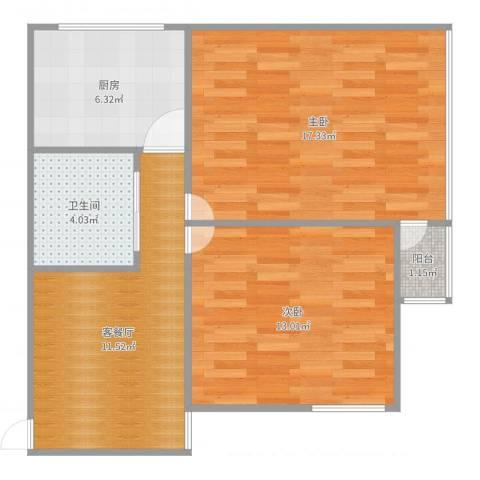 金桥四街坊2室2厅1卫1厨67.00㎡户型图