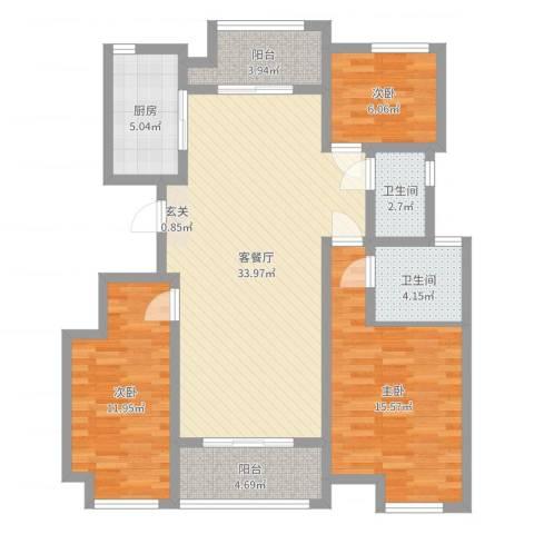 东方・亚特兰3室2厅2卫1厨110.00㎡户型图