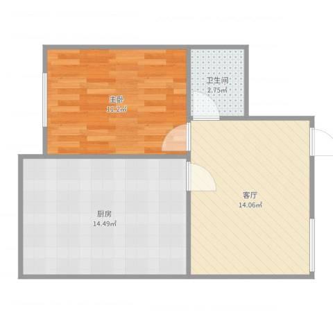 飞宇花园南区1室1厅1卫1厨53.00㎡户型图