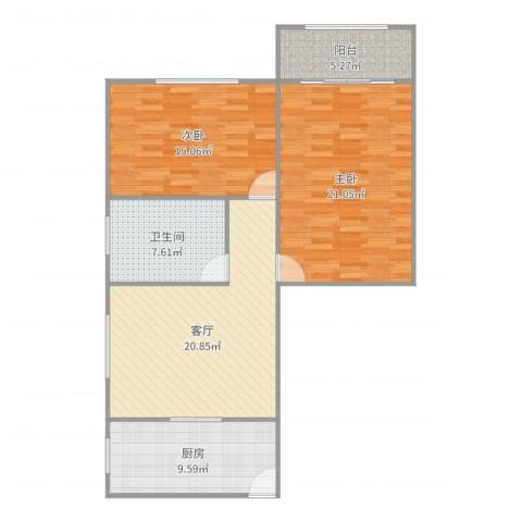 红旗教师公寓2室1厅1卫1厨99.00㎡户型图