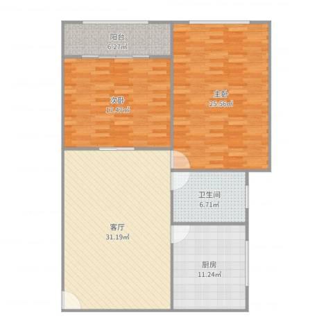 红旗教师公寓2室1厅1卫1厨123.00㎡户型图