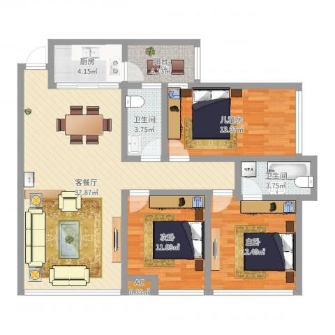 正和城3室2厅3卫1厨114.00㎡户型图