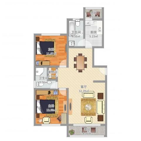 海波金桂苑2室1厅2卫1厨95.00㎡户型图
