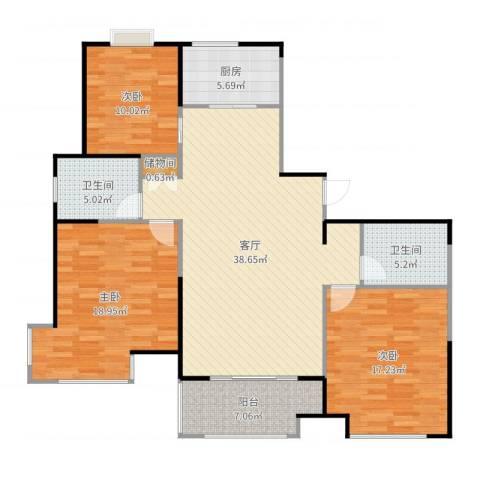 桂竹香公寓3室1厅2卫1厨136.00㎡户型图