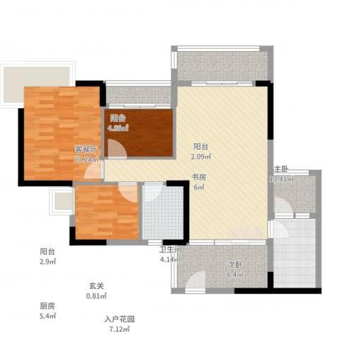 盛天龙湾3室2厅1卫1厨115.00㎡户型图