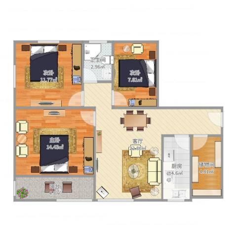 复兴西路203号3室1厅1卫1厨92.00㎡户型图