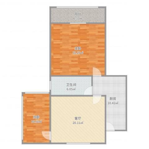 枫林大楼商住公寓2室1厅1卫1厨95.00㎡户型图