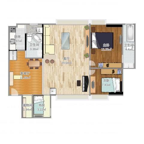 加勒比湾3室3厅2卫1厨98.00㎡户型图