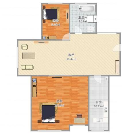 创世纪花园2室1厅1卫1厨118.00㎡户型图