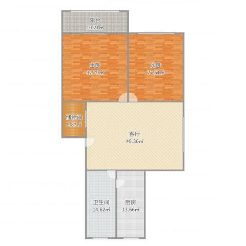 长桥八村2室1厅1卫1厨193.00㎡户型图