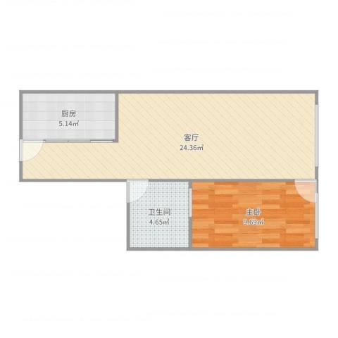 北海大厦公寓1室1厅1卫1厨55.00㎡户型图