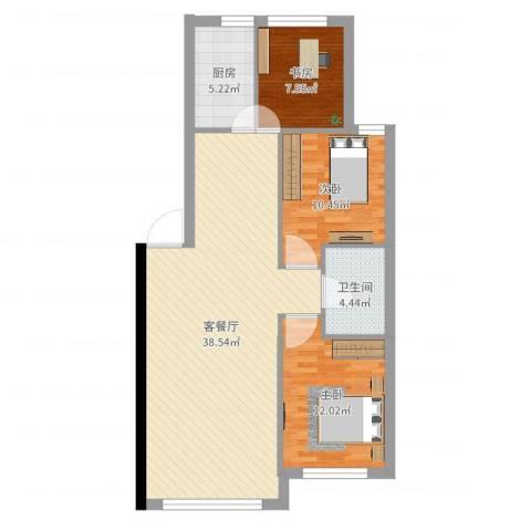 金港翠园3室2厅1卫1厨98.00㎡户型图