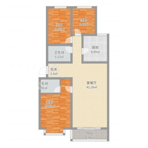 巨海城五区3室2厅2卫1厨146.00㎡户型图
