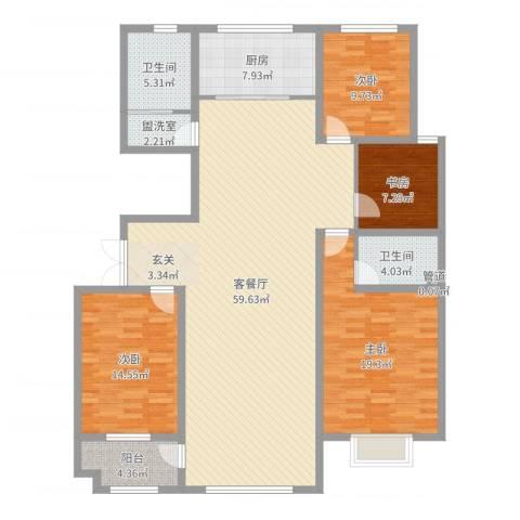 景泰铭城4室4厅2卫1厨168.00㎡户型图