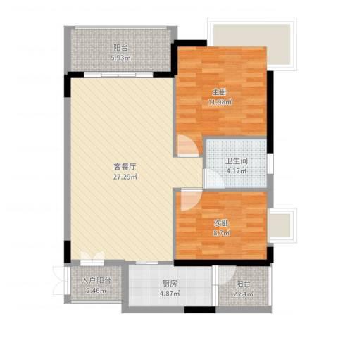 东方豪苑二期星钻2室2厅2卫1厨85.00㎡户型图