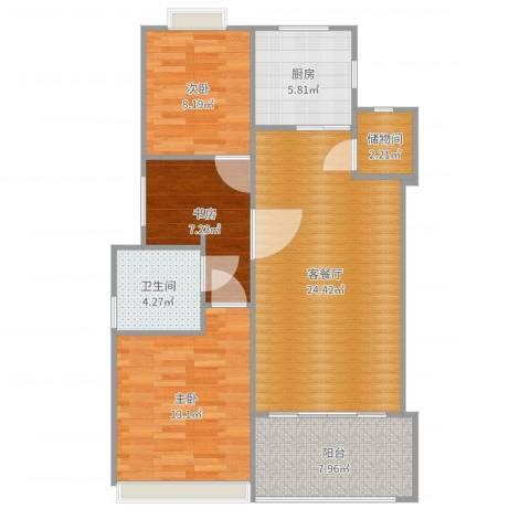 金杨金台苑3室2厅1卫1厨91.00㎡户型图