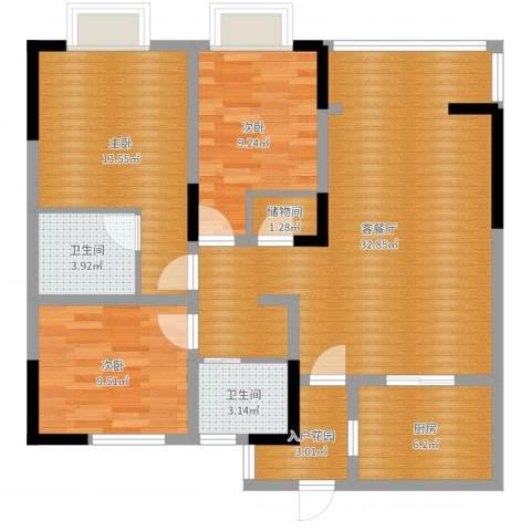 世茂君望墅3室2厅2卫1厨103.00㎡户型图
