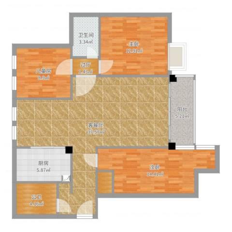 麻城摩尔城4室2厅2卫1厨118.00㎡户型图