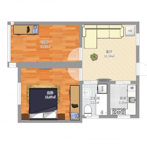 红旗四街坊2室1厅1卫1厨54.00㎡户型图