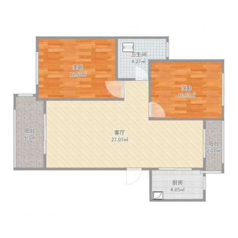 路通沁园2室1厅1卫1厨83.00㎡户型图