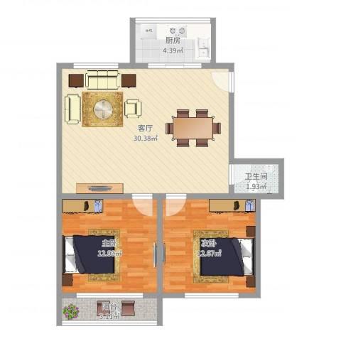 银欣花苑(奉贤)2室1厅1卫1厨82.00㎡户型图