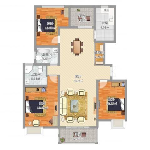 浦发博园别墅3室1厅2卫1厨162.00㎡户型图