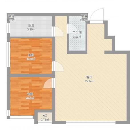 保利香槟国际2室1厅1卫1厨80.00㎡户型图
