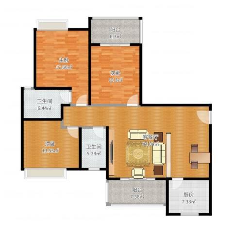 鼓楼广场3室2厅2卫1厨154.00㎡户型图