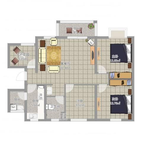 世纪之门3室2厅3卫1厨113.00㎡户型图