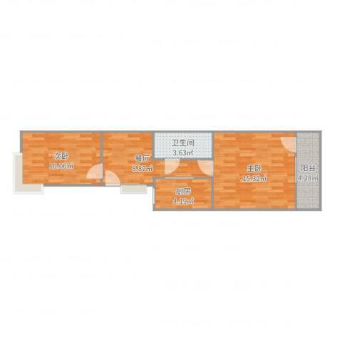 华威西里2室1厅1卫1厨58.00㎡户型图