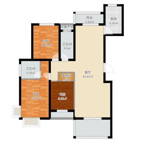 香江名邸3室1厅2卫1厨141.00㎡户型图