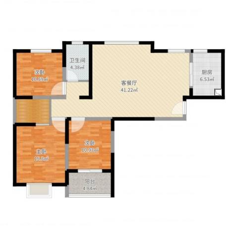 广晟苑3室2厅1卫1厨123.00㎡户型图