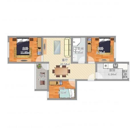 车站中里3室1厅1卫1厨78.00㎡户型图